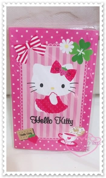 ♥小花花日本精品♥ Hello Kitty y紅包袋過年必備新年必備坐姿下午茶草莓蝴蝶結花朵8枚入 60235602