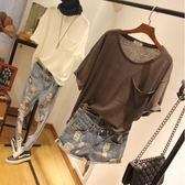棉麻料寬鬆純色休閒短袖t恤夏季半截袖女