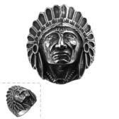 鈦鋼戒指 印地安人-復古龐克個性流行生日情人節禮物男飾品73le54[時尚巴黎]