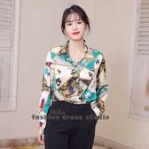 依Baby 秋季新款時尚韓版長袖拼色印花打底衫百搭氣質雪紡襯衫