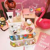 桌面置物架首飾收納盒化妝品口紅帶鏡子家用【3C玩家】