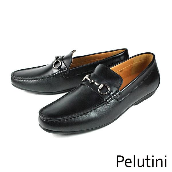 【Pelutini】金屬扣飾時尚樂福鞋 黑色(7805-BL)