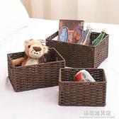 收納盒桌面鑰匙零食化妝品藤編收納筐雜物編織籃盒子置物日式框子 極簡雜貨