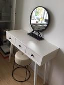 小鄧子北歐鐵藝金色圓形化妝鏡酒店擺飾洗手間浴室鏡子影樓桌面梳妝鏡台(50CM)
