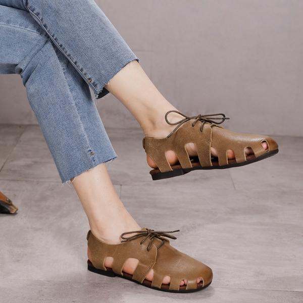 真皮手工女鞋 系帶休閒涼鞋 純色舒適沙灘鞋/2色-夢想家-標準碼-0412