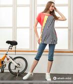 ohoh-mini孕婦裝 獨特不對稱剪裁拼接圓領上衣(二色可選)