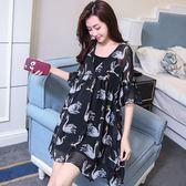 孕婦裝夏裝連身裙韓版短袖天鵝印花孕婦裙2018新款兩件套孕婦套裝 熊貓本