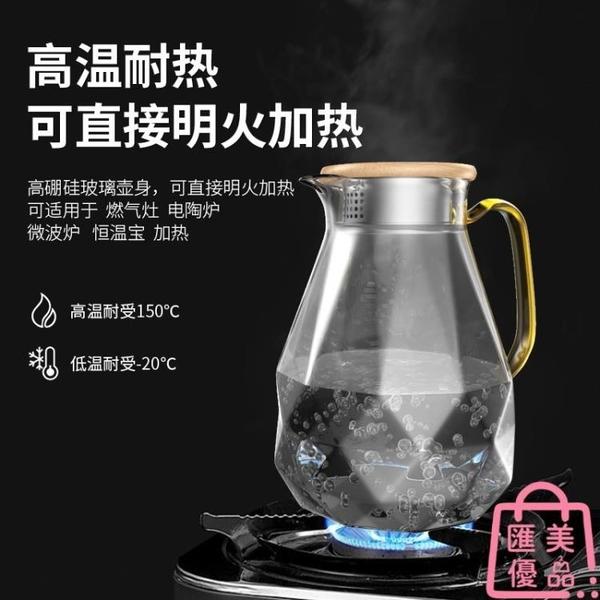 冷水壺家用耐高溫玻璃水壺大容量涼水壺耐熱涼白開水杯套裝【匯美優品】