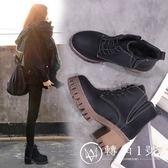 2017新款韓版百搭馬丁靴女粗跟英倫風女鞋高跟短靴