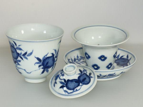 鹿港窯~ 青花瓷茶杯【蟠桃 (四件套杯~同心杯)】◆ 附精美包裝 ◆免運費送到家
