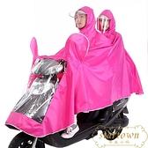 電動車防水雨衣電瓶車成人雙人騎行雨披加大加厚【繁星小鎮】