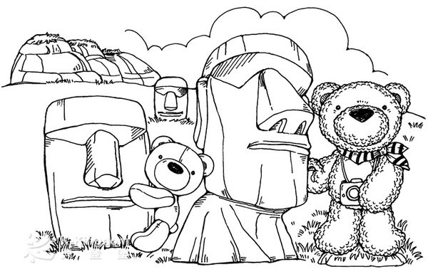 【貝登堡】手作 卡片 楓木印章 木頭印章 木頭章 棉花熊遊復活島 KT-4534