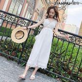 闊腿連體長褲女海邊度假時髦白色吊帶連衣裙