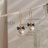 PUFII-耳環 垂墜大珍珠蝴蝶結氣質耳環- 0722 現+預 夏【CP18952】