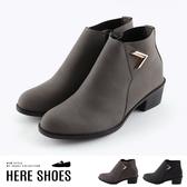 [Here Shoes]靴子-跟高4.5cm 粗跟 磨砂皮質鞋面 側拉鍊 低筒靴 短靴 踝靴 MIT台灣製-KD7823