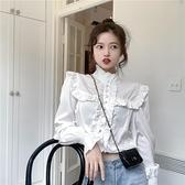 法式木耳邊宮廷風設計感小眾白色長袖襯衫上衣女2021春秋新款襯衣1 幸福第一站
