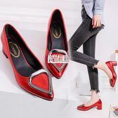 尖頭高跟鞋紅色婚鞋單鞋淺口漆皮中跟粗跟女鞋