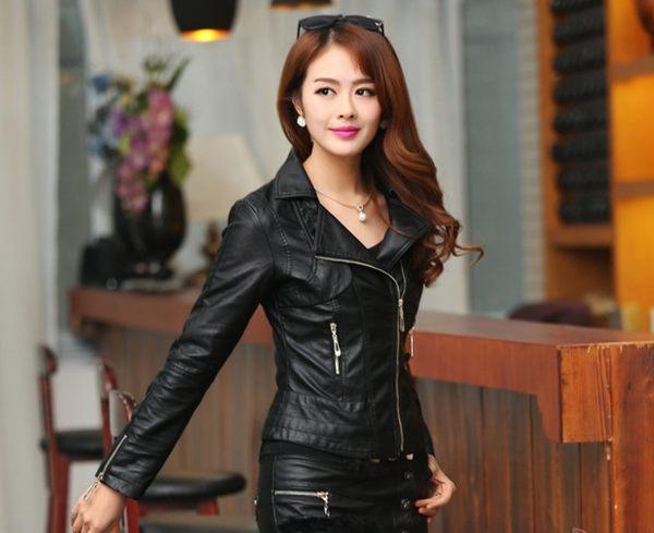 皮衣 韓版皮夾克修身顯瘦短外套 黑色 S-4XL #sh2267 ❤卡樂❤