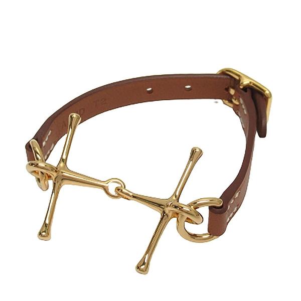 HERMES 愛馬仕 Gold 37 焦糖色牛皮金色H字細版手環 Mors bracelet A刻 【BRAND OFF】