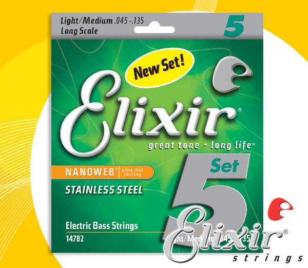 【小麥老師 樂器館】貝斯弦 Elixir 14782 (45-135 ) 薄膜 NANOWEB 現貨【T89】