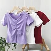 性感T恤 2021年新款紫色修身短袖高腰t恤女法式v領短款緊身上衣百搭衣服夏