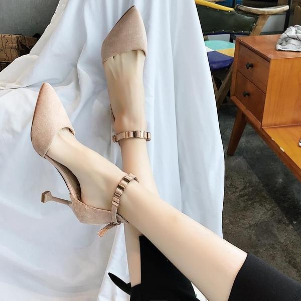 涼鞋2020新款女夏季小清新高跟鞋女韓版百搭細跟包頭一字扣仙女鞋