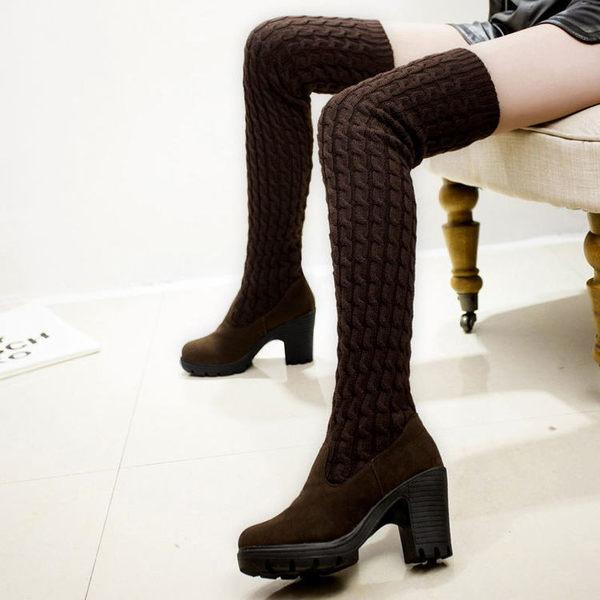 長靴〃丁果女鞋► 新款毛線靴 暖暖包女士針織靴休閒中跟女靴-棕色35碼