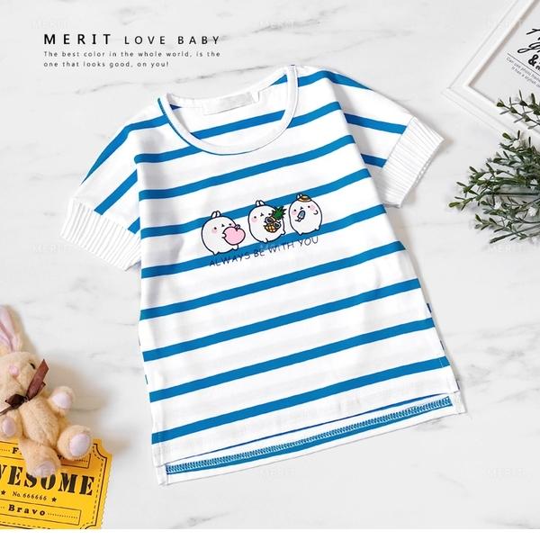 可愛動物藍條紋拼接雪紡袖短T 女童 棉質 春夏 短袖 上衣 T恤