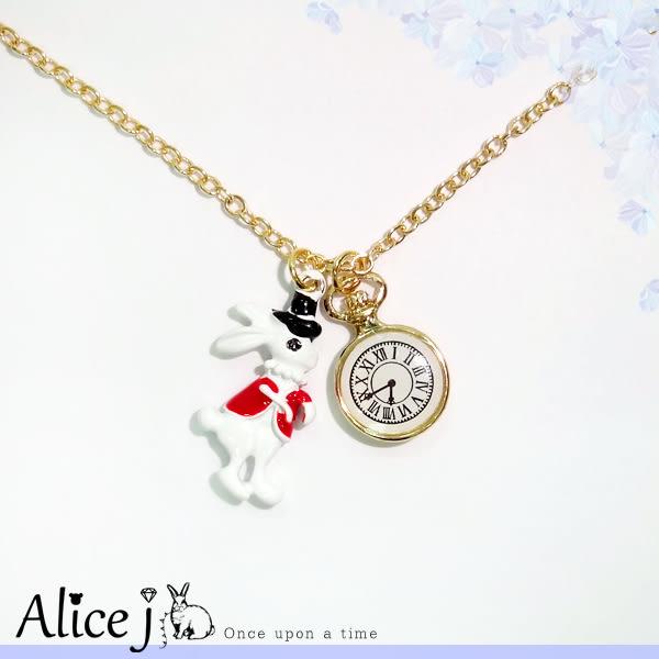 韓系 童話風俏皮兔兔懷錶 短鍊 項鍊