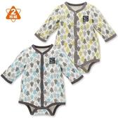 日本西松屋 厚棉前扣式長袖包屁衣二件組 灰樹林 | 男寶寶 | 北投之家童裝【NI0265006】
