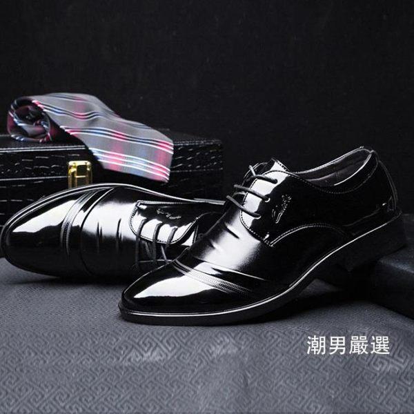 皮鞋春夏皮鞋男士英倫正韓尖頭漆皮黑色潮鞋商務正裝休閒亮面皮質鞋子38-442款