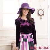 【RED HOUSE-蕾赫斯】公主袖蝴蝶結絨布上衣(共二色)