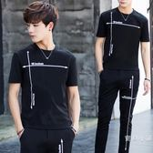 新款休閒運動套裝男士潮流韓版夏季修身短袖t恤上衣長褲子兩件套M-3XL萬聖節
