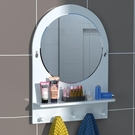 浴鏡 洗手間浴室鏡子貼墻免打孔小戶型廁所衛生間洗漱臺帶置物架掛墻式