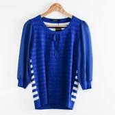 【MASTINA】異材質拼接上衣-藍  秋裝限定嚴選
