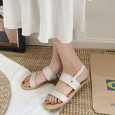 交叉帶涼鞋女舒適平底鞋露趾簡約時尚學生涼鞋 『米菲良品』