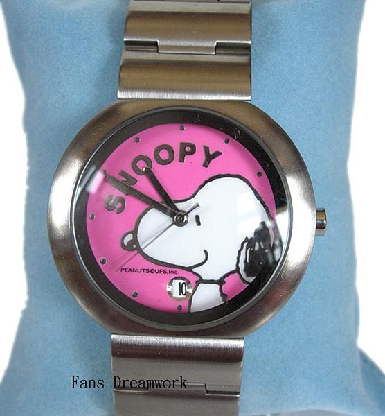 【卡漫城】 史奴比 手錶 粉 日期功能 ㊣版 不鏽鋼 水晶玻璃 史努比 女錶 卡通錶 Snoopy 六折出清