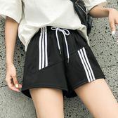 運動短褲運動短褲女夏2018新款韓版寬鬆休閒高腰闊腿a字 曼莎時尚