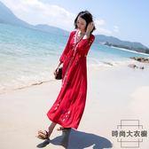民族風連身裙海邊度假裙長裙顯瘦沙灘裙女【時尚大衣櫥】
