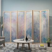 屏風隔斷客廳折疊移動布藝實木歐式雕花玄關新中式辦公室簡約現代