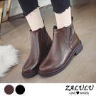 ZALULU愛鞋館 7IE018 好棒!流行V字款鬆緊帶平底PU短筒靴-偏小-黑/棕-36-40