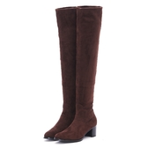MICHELLE PARK 時髦顯瘦美腿彈力絨質及膝上靴長靴咖啡色