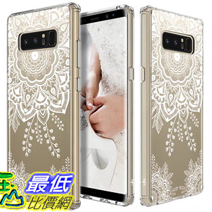 [106美國直購] 手機保護殼 Galaxy Note 8 Case LK [Shock Absorbing] White Henna Mandala Floral Lace B0746BTT7W