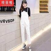 少女學生直筒吊帶褲春季裝新款寬鬆休閒韓版連身褲九分牛仔褲「艾瑞斯居家生活」