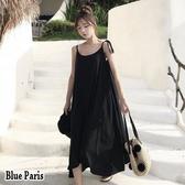 【藍色巴黎】 韓國時尚細肩綁带傘狀裙襬長洋裝 /海邊度假洋裝《2色》【28734】