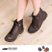 [Here Shoes]MIT台灣製 個性防舊皮革 金屬扣 綁帶 粗跟 短筒靴 2色─KDW6788
