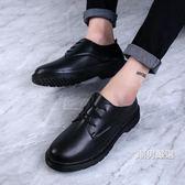 皮鞋秋冬情侶休閒小皮鞋男百搭學生大尺碼男鞋英倫潮流內增高大頭馬丁鞋36-46