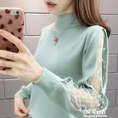 秋冬新款半高領毛衣女寬鬆外穿蕾絲針織衫洋氣打底衫上衣爆款 韓美e站