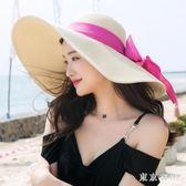 帽子夏天草帽大沿遮陽帽度假海邊百搭太陽帽防曬可折疊沙灘帽 QQ19978『東京衣社』