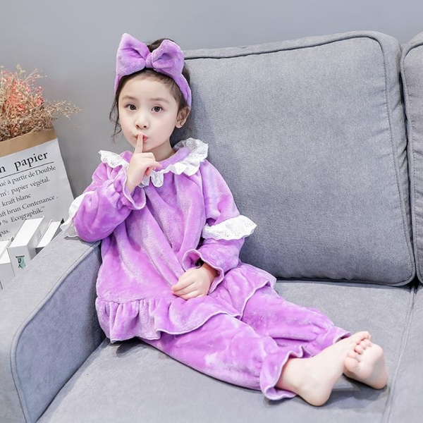 兒童睡衣 兒童春裝珊瑚絨家居服睡衣套裝新款女童寶寶法萊絨【快速出貨國慶八折】